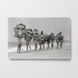 Women Wearing Bizzaro Macabre Carnival Masks at Venice Beach black and white photograph Metal Print