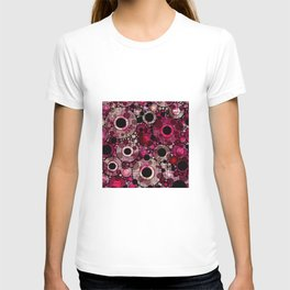 Vibrant Abstract Pink Bubbles design T-shirt