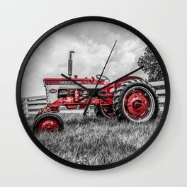 IH 240 Side View Selective Red Farmall Tractor Wall Clock
