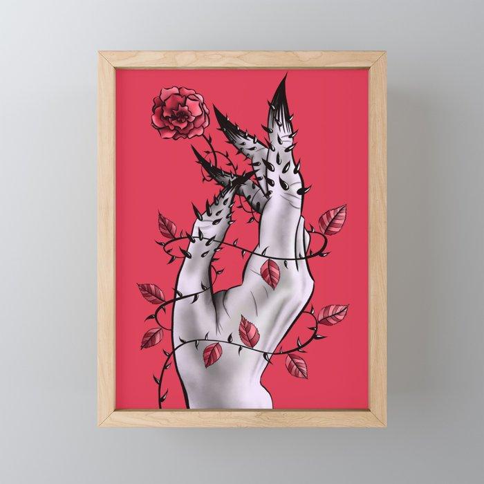 Creepy Deformed Hand With Rose And Thorns | Digital Art Framed Mini Art Print