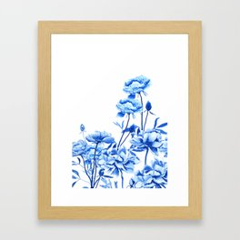 blue peonies Framed Art Print