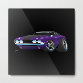 Classic Muscle Car Cartoon Metal Print