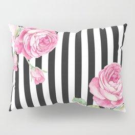 Black white blush pink watercolor floral stripes Pillow Sham