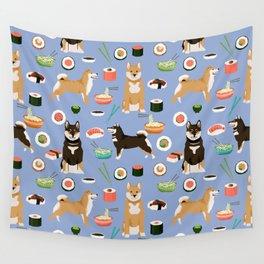 Shiba Inu noodles pho food cute dog art sushi dogs pet portrait pattern Wall Tapestry