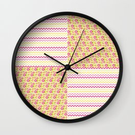 Pink n Green Country Chevron and Floral Checkered Wall Clock
