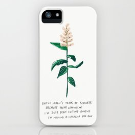 These Aren't Tears of Sadness Cuz You're Leavin Me Peachy Pink Flower Illustration Not Crying Lyrics iPhone Case