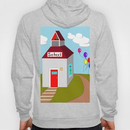 An Ole School House with Balloons Hoody