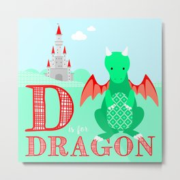 D is for Dragon Metal Print