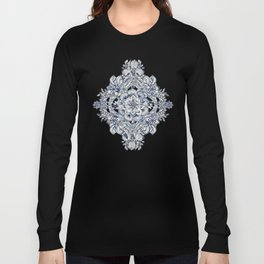 Floral Diamond Doodle in Dark Blue and Cream Long Sleeve T-shirt