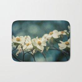 Spring Botanical -- White Dogwood Branch in Flower Bath Mat
