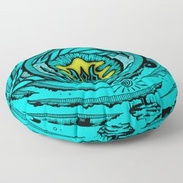 Eye of an Incarnation Teal Floor Pillow