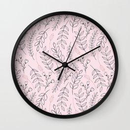 Pink Leaves & Flowers Wall Clock