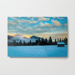sunset after the first snowfall Metal Print