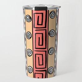 Tribal Doodle Earth Rocks Mountains - Orange Travel Mug