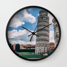 Italy Photography - The Leaning Tower Of Pisa Under The Blue Sky Wall Clock