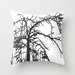 Creepy tree silhouette, black on white Throw Pillow