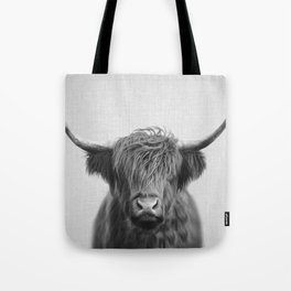 Highland Cow - Black & White Tote Bag