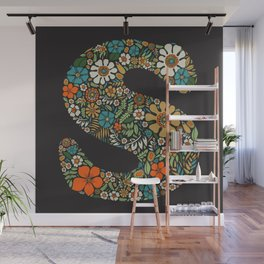 Hippie Floral Letter S Wall Mural