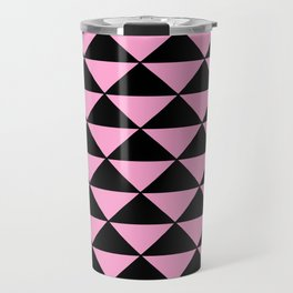 Graphic Geometric Pattern Minimal 2 Tone Infinity Triangles (Pastel Pink & Black) Travel Mug