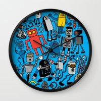 robots Wall Clocks featuring ROBOTS! by Chris Piascik