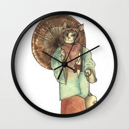Umbrella Halfing Cat with Her Lantern Wall Clock