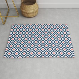 Navy Blue and Coral Diamond Ikat Pattern Rug