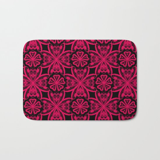 Red Lace on black . Bath Mat