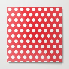 Minnie Mouse Dots | Red Metal Print