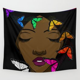 Portrait of a Young African American Woman with Butterflies Wall Tapestry
