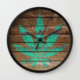 Chipped Paint Cannabis Leaf Wall Clock