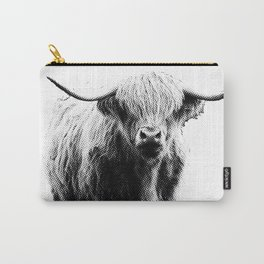 Newspaper Print Style Highland Cow. Scotland, Bull, Horns. Carry-All Pouch