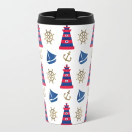 Blue red faux gold hand painted watercolor nautical pattern Travel Mug