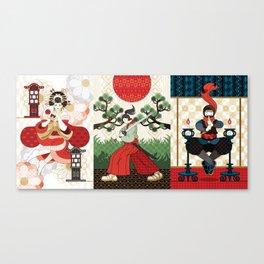 Oiran and Andon・Samurai sword and pine and Japanese flag・Ninja and candlesticks(remake) Canvas Print