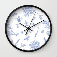 insects Wall Clocks featuring Insects & Flowers by Sollefe