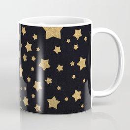 Gold Stars on BLack Coffee Mug