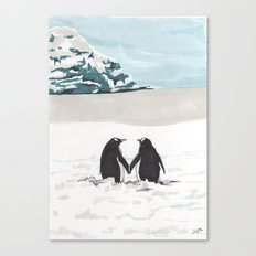 Penguins in love Canvas Print