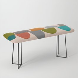 Mid-Century Modern Ovals Abstract Bench