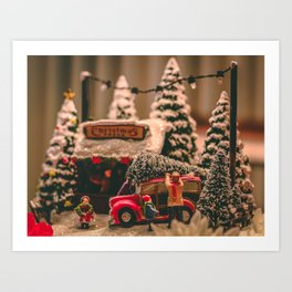 Tiny Christmas Town (Color) Art Print