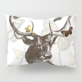 The Stag and Butterflies | Deer and Butterflies | Vintage Stag | Vintage Deer | Antlers | Woodland | Pillow Sham
