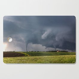 Twins - Two Tornadoes Touch Down Near Dodge City Kansas Cutting Board