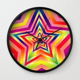 Star Colorful Rainbow Spectrums Wall Clock