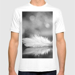 White Feather In Black And White Bokeh Background #decor #society6 #buyart T-shirt