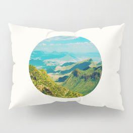 Mid Century Modern Round Circle Photo Graphic Design Vintage Pastel Green Mountain Valley Pillow Sham