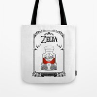 the legend of zelda Tote Bags featuring Zelda legend - Red potion  by Art & Be