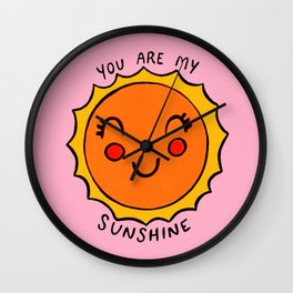 You Are My Sunshine (pink) Wall Clock