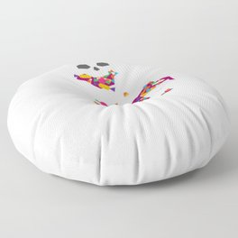 Halloween Trick or Treat Skeleton with Halloween Candy Floor Pillow