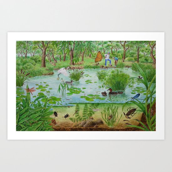 A Day of Forest (4). (the lake ecosystem) Art Print