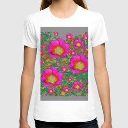 Charcoal Grey Design Fuchsia Roses Floral Garden Art T-shirt