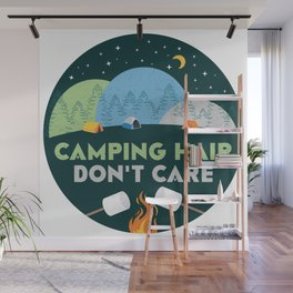Camping Hair Don't Care Green Nature Outdoor Tent Wall Mural