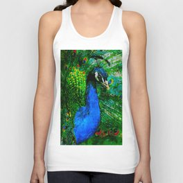 Peacock watercolor Unisex Tank Top